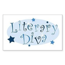"""Literary Diva"" [blue] Rectangle Decal"