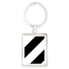 Black and White Diagonal Portrait Keychain