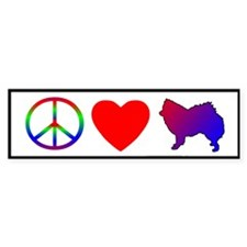 Peace, Love, American Eskimo Dog Bumper Bumper Sticker