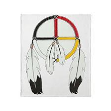Feathered Medicine Wheel Throw Blanket
