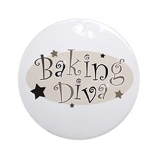 Baking Diva [brown] Ornament (Round)