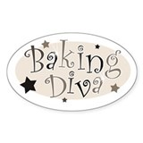 Baking Diva [brown] Oval Decal