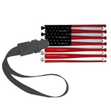 retro baseball bat American flag Luggage Tag