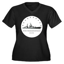 USS Indianap Women's Plus Size Dark V-Neck T-Shirt