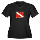 Dive Barbuda Women's Plus Size V-Neck Dark T-Shirt