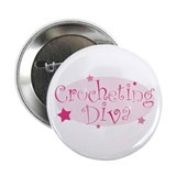 """Crocheting Diva"" [pink] Button"