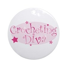 """Crocheting Diva"" [pink] Ornament (Round)"