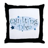 """Quilting Diva"" [blue] Throw Pillow"