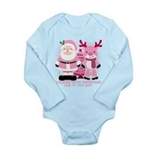 Personalize Pink Santa! Long Sleeve Infant Bodysui