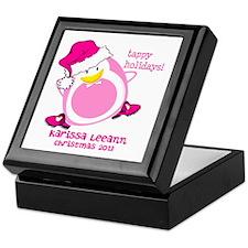 Personalize Pink Dancing Penguin Keepsake Box