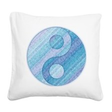 denim yin-yang Square Canvas Pillow