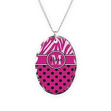 Pink Black Dot Zebra Persoanlized Necklace