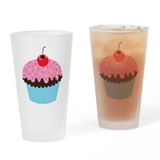 Pink Cupcake Drinking Glass