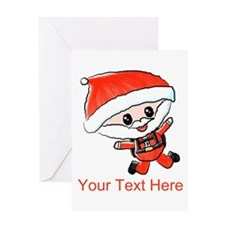 Skydiving Santa and Text Greeting Cards