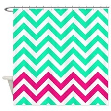 Green and pink 1 chevrons Shower Curtain