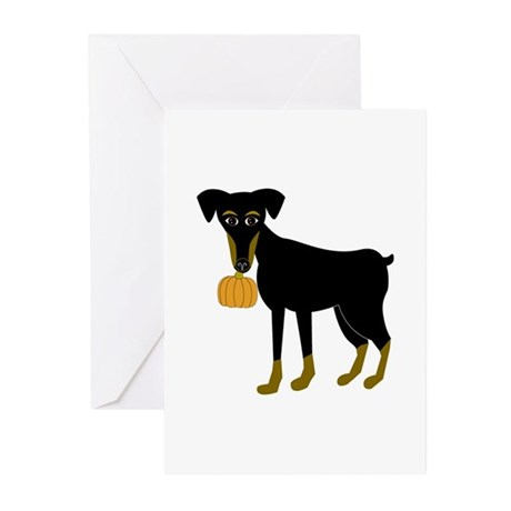 Miniature Pinscher Pumpkin Greeting Cards (Package
