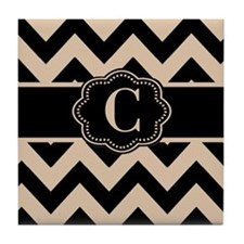 Beige Black Chevron Monogram Tile Coaster