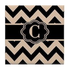 Beige Black Chevron Monogram Tile Coaster