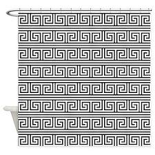 Black and White Greek Key Print Pattern Shower Cur