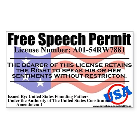 Free Speech Permit Sticker