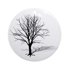 t-shirt gift tree silhouette winter Round Ornament