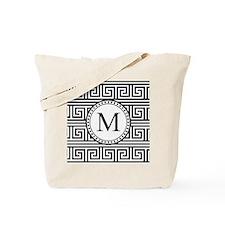 Monogram Black White Greek Key Pattern Tote Bag