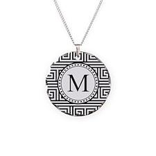 Monogram Black White Greek Key Pattern Necklace