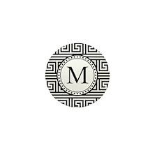 Monogram Black White Greek Key Pattern Mini Button