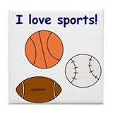 I LOVE SPORTS Tile Coaster