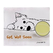 Get Well Westie Throw Blanket