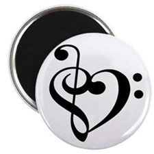 Treble Bass Clef Heart Magnets