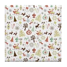 Retro Christmas Pattern Tile Coaster