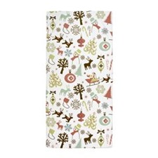Retro Christmas Pattern Beach Towel
