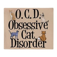 Cute Obsessive cat disorder Throw Blanket