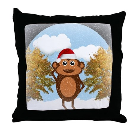 Christmas Monkey Throw Pillow