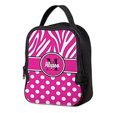 Pink Dot Zebra Personalized Neoprene Lunch Bag