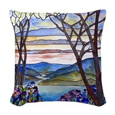 Tiffany Frank Memorial Window Woven Throw Pillow