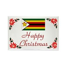 Zimbabwe Happy Christmas Rectangle Magnet