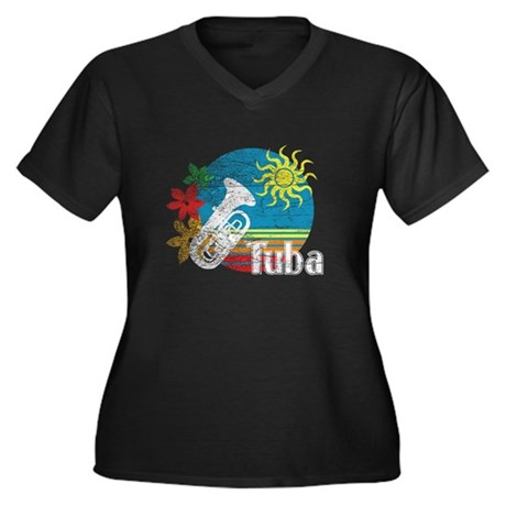 Hawaiian Tuba Women's Plus Size V-Neck Dark T-Shir