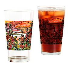Red Hollyhocks in Landscape Drinking Glass
