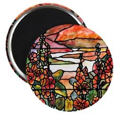 Red Hollyhocks in Landscape Magnet