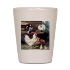 Rooster chicks and pigeons Shot Glass