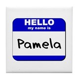 hello my name is pamela  Tile Coaster