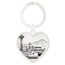 Space Needle and Ferry Heart Keychain