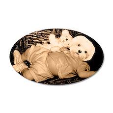 dog headed baby 35x21 Oval Wall Decal