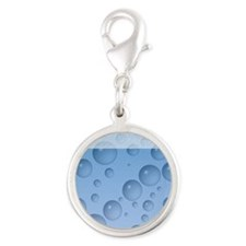 Water Drops Pattern Silver Round Charm