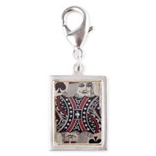 vintage play cards kings Silver Portrait Charm
