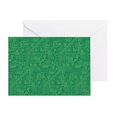 Green Circuit Board Greeting Card
