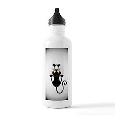 Black Cat Cartoon Scra Water Bottle