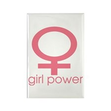 Girl Power Light Pink Rectangle Magnet (10 pack)